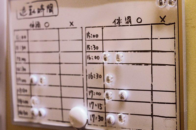 出勤したメンバーは、今日の体調の◯☓と、帰宅時間をマグネットで示す。