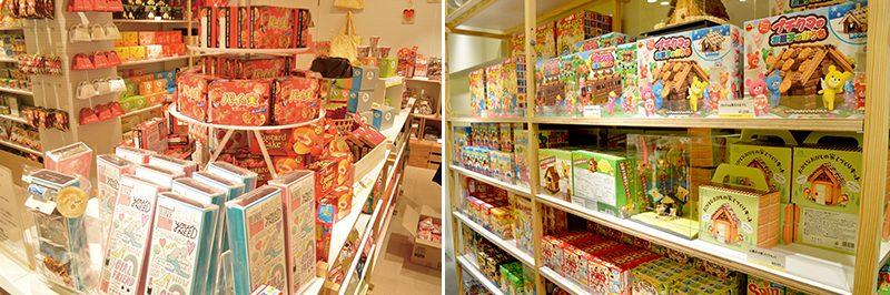 店舗では様々なメーカーのお菓子がかわいく陳列されています